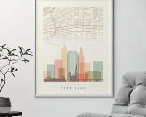 Cleveland map print poster pastel cream second
