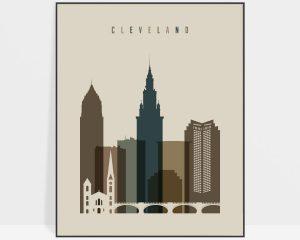 Cleveland art print earth tones 3