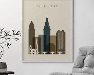 Cleveland art print earth tones 3 second