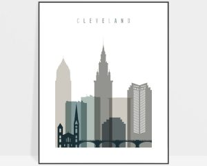 Cleveland art print skyline earth tones 4