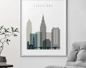 Cleveland art print skyline earth tones 4 second