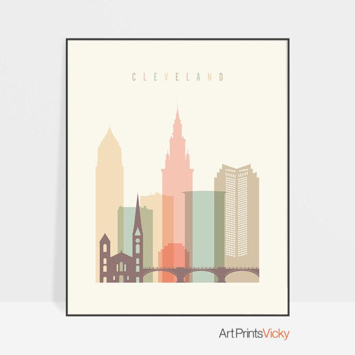 Cleveland art print skyline pastel cream