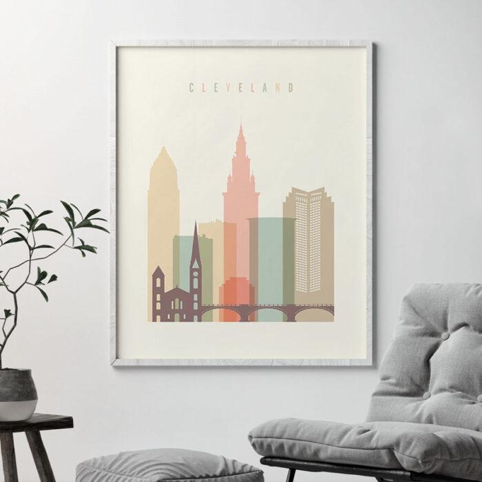 Cleveland art print skyline pastel cream second