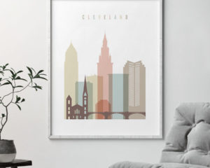 Cleveland wall art pastel white second