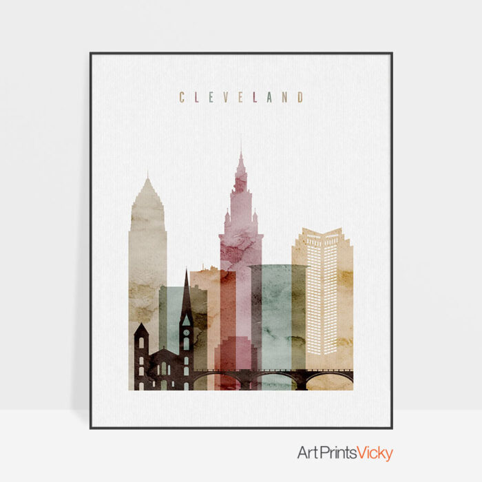 Cleveland Skyline Print Watercolor 1