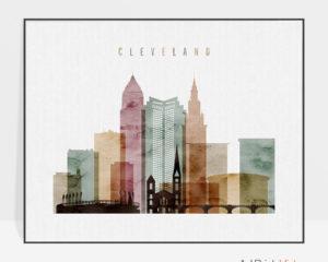 Cleveland skyline art watercolor 1 landscape