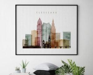 Cleveland skyline art watercolor 1 landscape second