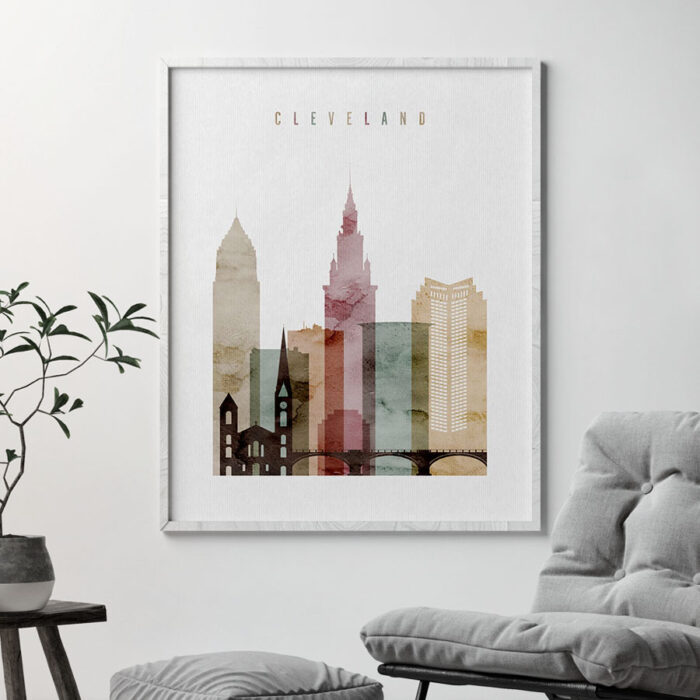Cleveland skyline print watercolor 1 detail
