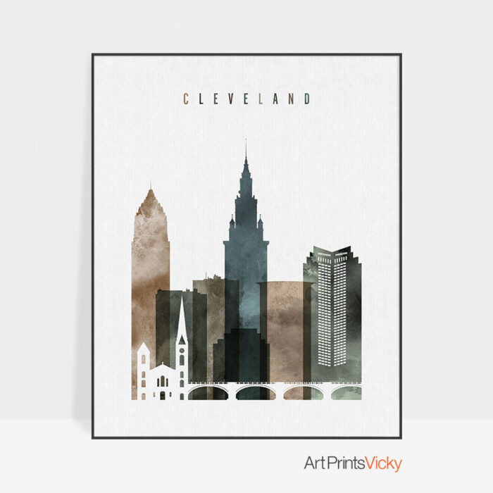 Cleveland skyline poster watercolor 2