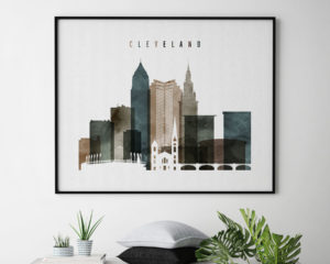 Cleveland poster watercolor 2 landscape second