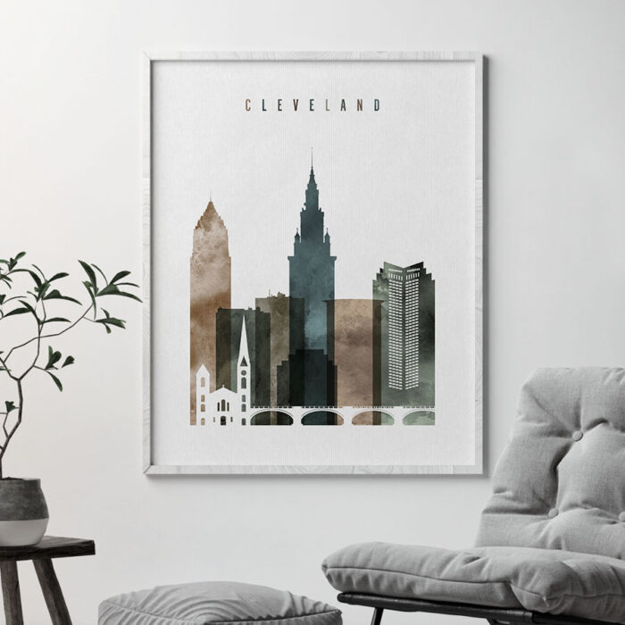 Cleveland skyline poster watercolor 2 second