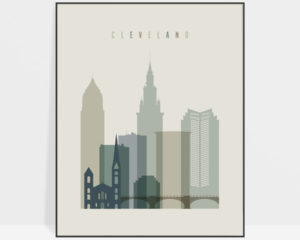 Cleveland print skyline earth tones 1