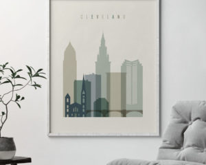 Cleveland print skyline earth tones 1 second