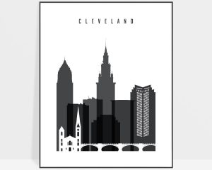 Cleveland skyline black and white art