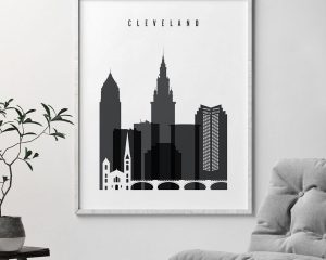 Cleveland skyline black and white art second
