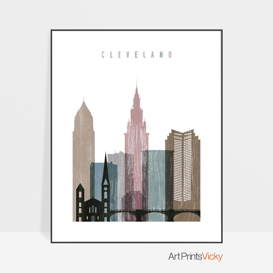 Cleveland skyline poster distressed 1