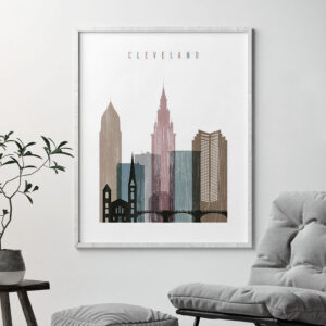 Cleveland skyline poster distressed 1 second