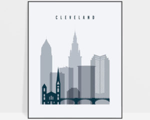 Cleveland skyline poster grey blue