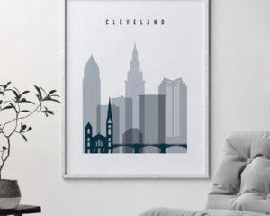 Cleveland skyline poster grey blue second