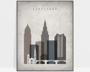 Cleveland skyline wall art retro