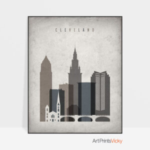 Cleveland skyline wall art retro
