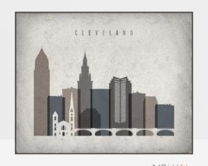 Cleveland art print landscape retro