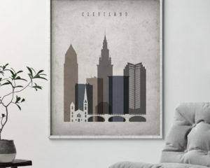Cleveland skyline wall art retro second