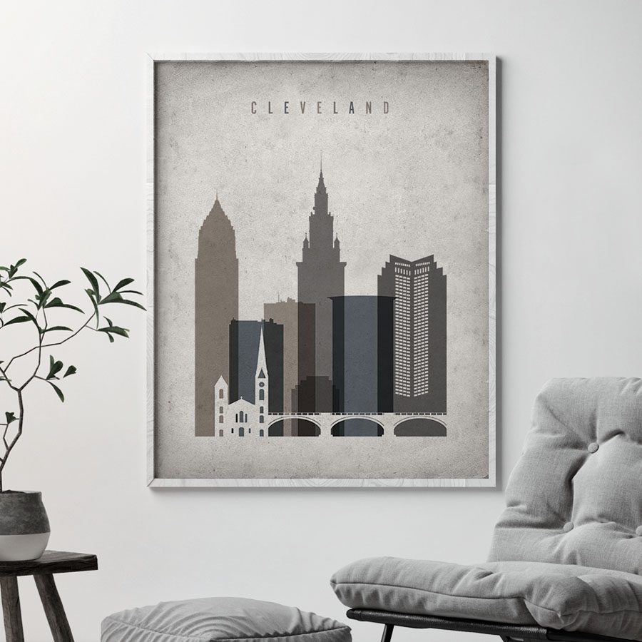 Cleveland skyline wall art retro second