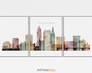 Cleveland watercolor 1 skyline set of 3 prints