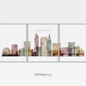 Cleveland watercolor 1 skyline set of 3 prints