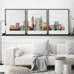Cleveland watercolor 1 skyline set of 3 prints second