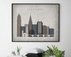 Cleveland art print landscape retro second