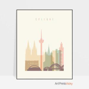 Cologne art print pastel cream