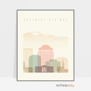 Colorado Springs art print pastel cream