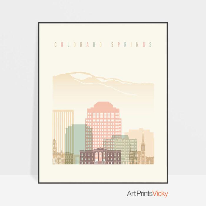Colorado Springs art print pastel cream