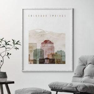 Colorado Springs skyline poster watercolor 1 second
