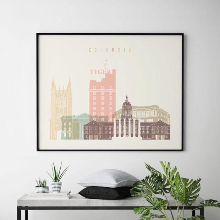Columbia poster skyline pastel cream landscape second