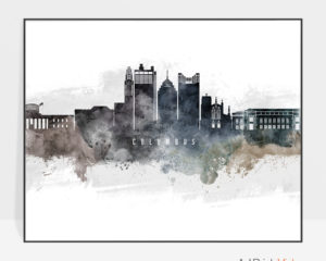Columbus art poster watercolor