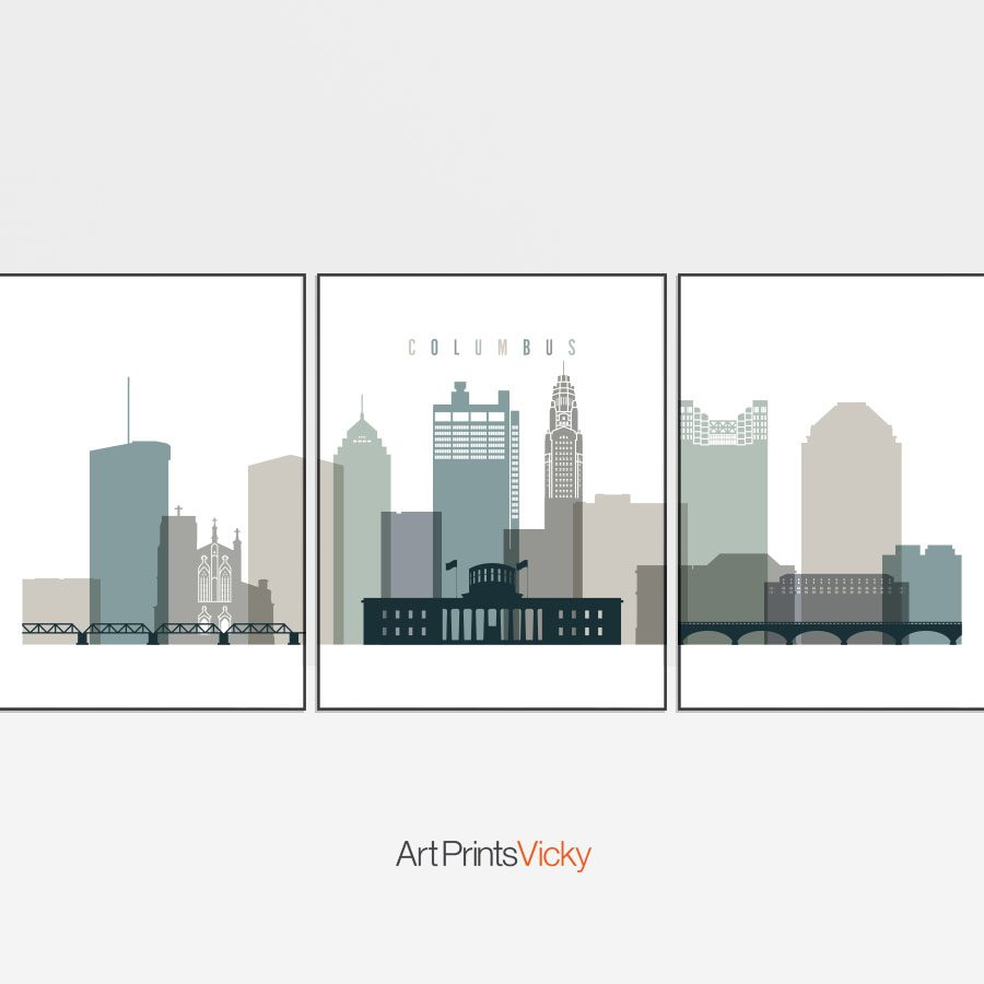 Columbus earth tones 4 skyline set of 3 prints