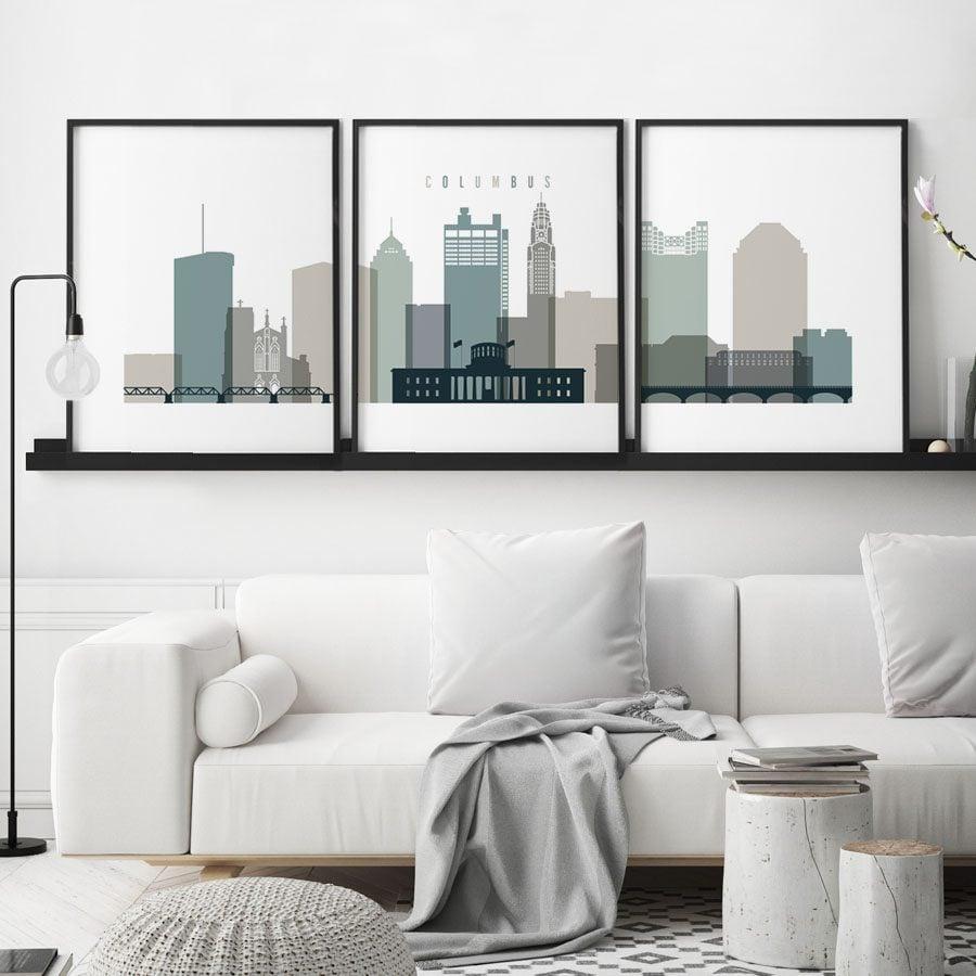 Columbus earth tones 4 skyline set of 3 prints second