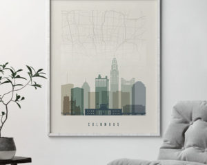 Columbus map print poster earth tones 1 second