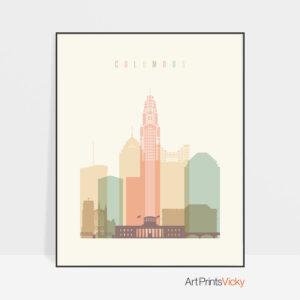 Columbus art print pastel cream