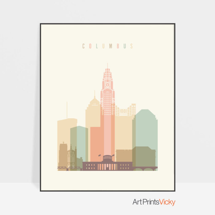 Columbus art print pastel cream
