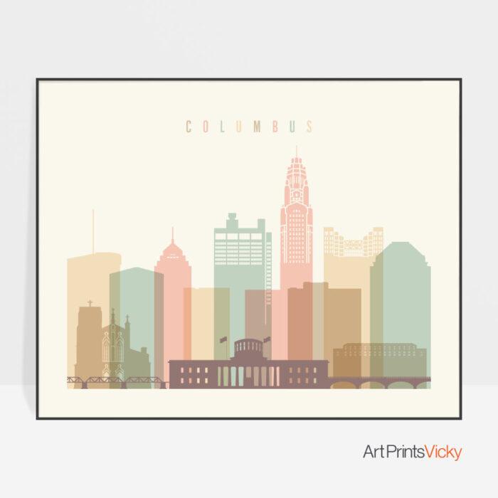 Columbus poster skyline pastel cream landscape