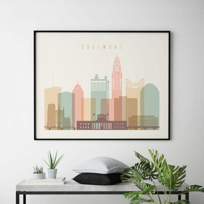 Columbus poster skyline pastel cream landscape second