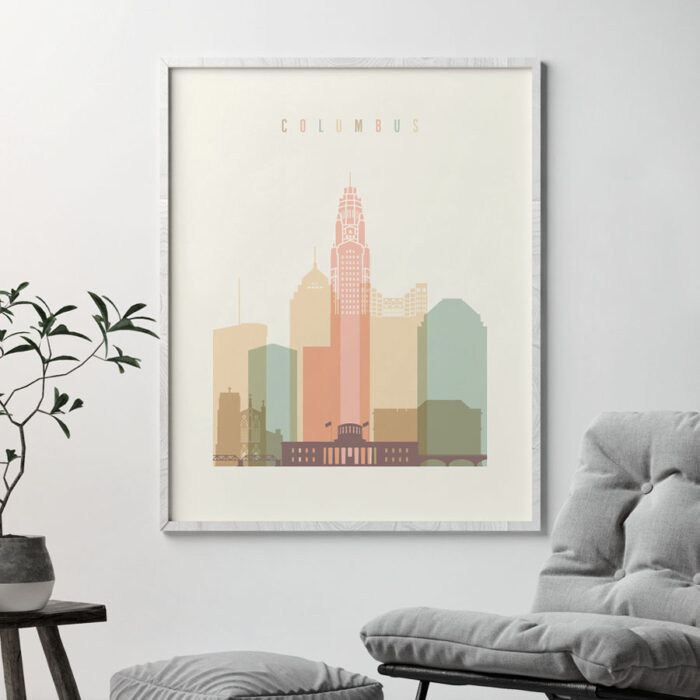 Columbus art print pastel cream second