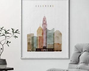 Columbus Ohio skyline art watercolor 1 second