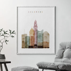 Columbus Ohio skyline art watercolor 1 second