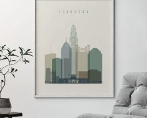 Columbus print skyline earth tones 1 second
