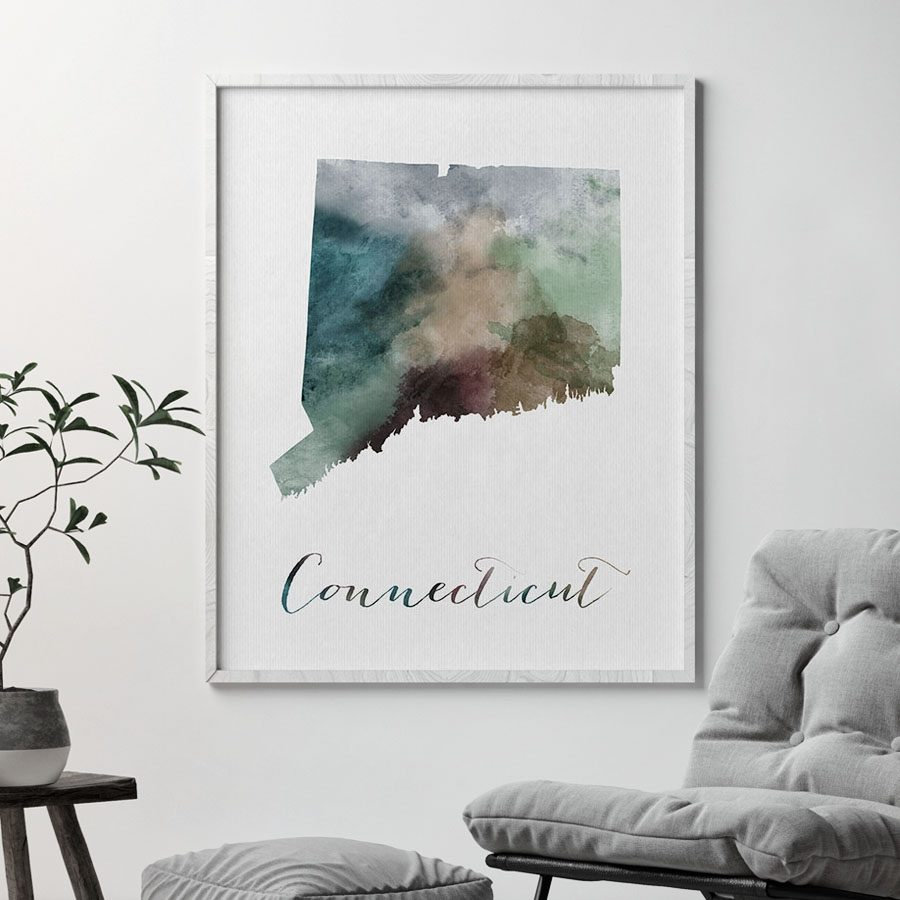 Connecticut State map print second